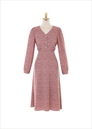 op9968 잔잔한 플라워 패턴의 진주 버튼 롱 플레어 원피스 dress
