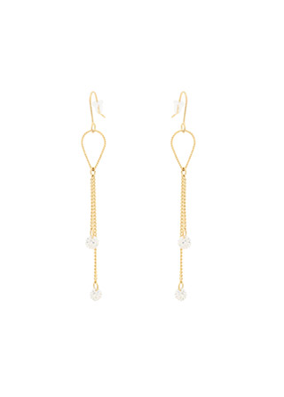 ac4728 페미닌한 무드의 드레시한 체인 디테일 큐빅 드롭 이어링 earring