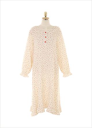 op9985 귀여운 체리패턴과 러블리한 프릴디테일로 완성된 파자마 롱원피스  dress