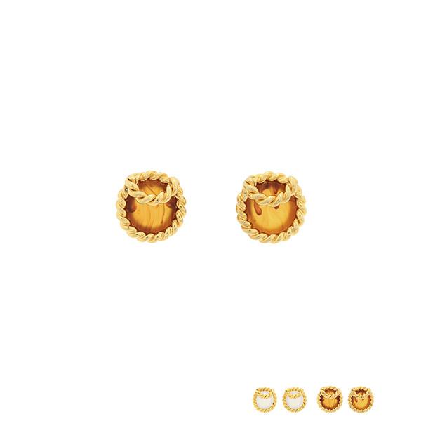 ac4735 엔틱한 감성을 듬뿍 담은 골드 꼬임 프레임의 원석 이어링 earring