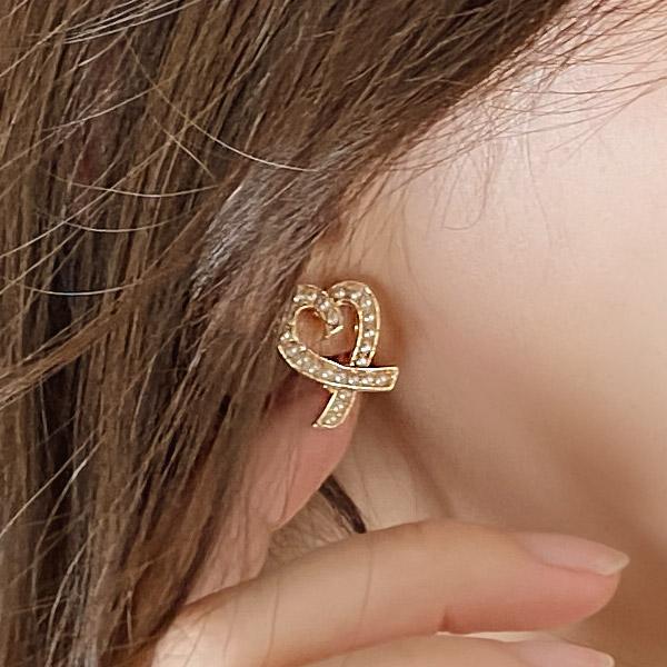 ac4738 특별한 날 포인트 주기 좋은 로맨틱한 진주 하트 이어링 earring