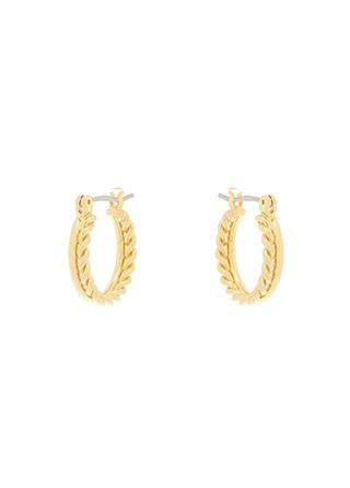 ac4740 꼬임 라인이 더해진 데일리한 디자인의 투 라인 미니 링 이어링 earring