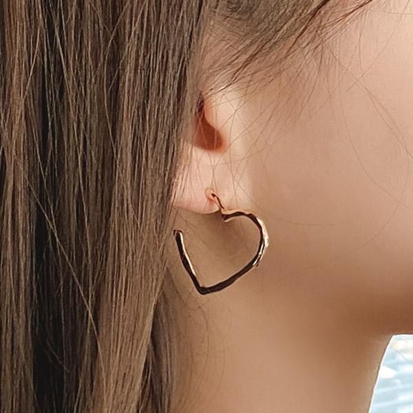 ac4742 러블리함을 가득 담은 데일리 하트 링 이어링 earring