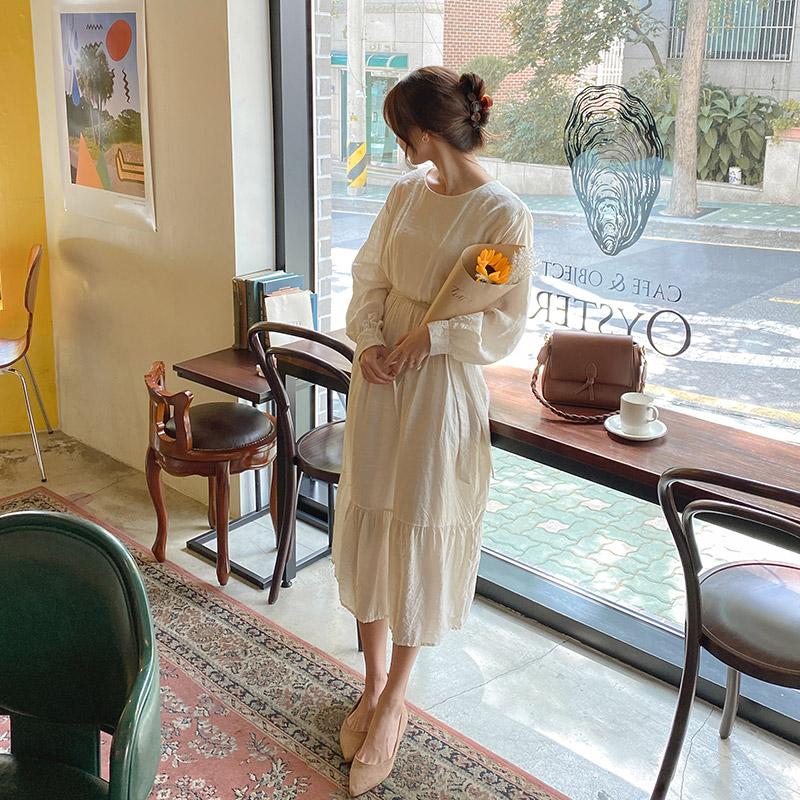 op10040 내추럴한 링클 패브릭의 스트랩세트 구성 H라인 무지 롱원피스 dress