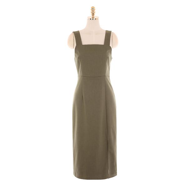 op10013 깔끔한 슬릿 포인트 H라인 서스펜더 롱 원피스 dress