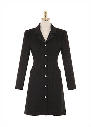 op10095 진주버튼 장식의 테일러드 카라 트위드 자켓형 원피스 dress