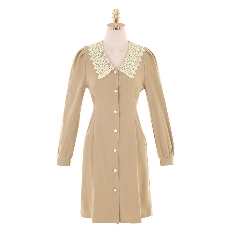 op10019 로맨틱한 무드가 돋보이는 레이스카라 포인트의 A라인 미니원피스 dress