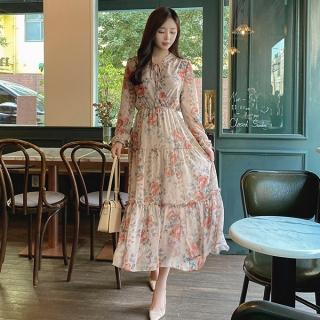 op10081 로맨틱한 프릴장식과 리본포인트의 허리밴딩 쉬폰 플라워 V넥 랩 롱원피스 dress