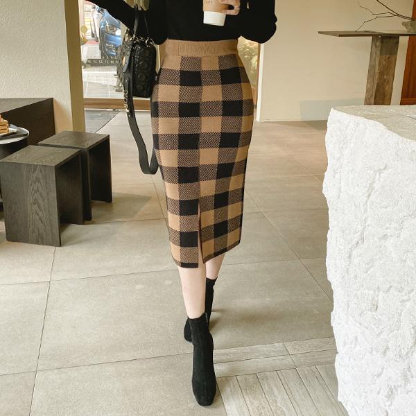 sk4377 소프트한 울캐시미어 소재감과 클래식한 체크패턴의 허리밴딩 H라인 미디롱 니트스커트 skirt