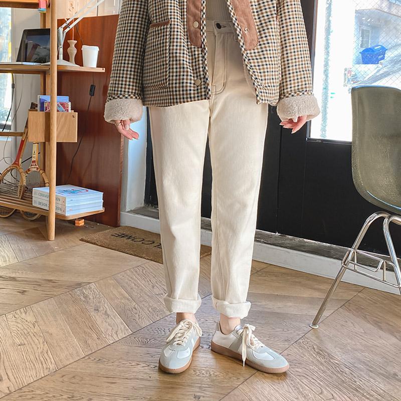 ps2434 따뜻하고 포근한 기모 안감의 세미와이드 일자핏 코튼 팬츠 pants