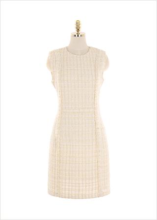 op10058 세련된 무드가 돋보이는 트위드 패브릭의 라운드넥 H라인 미니원피스 dress