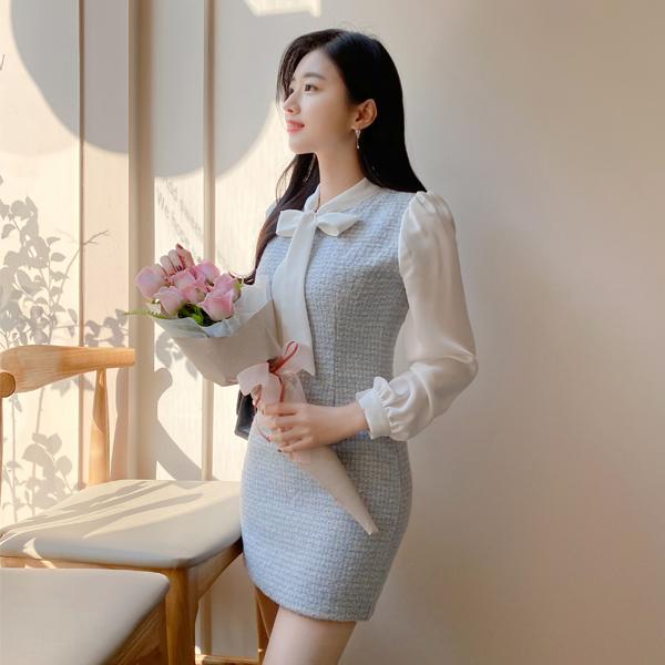 op10129 따뜻한 울혼방 체크배색 포인트의 리본타이 H라인 미니 원피스 dress