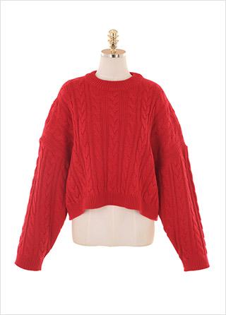 nt2384 포근함이 느껴지는 숏한 기장의 케이블 니트 knit