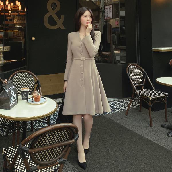 op10145 단정하게 입기 좋은 벨트 세트 구성의 플레어 스판 미디원피스 dress