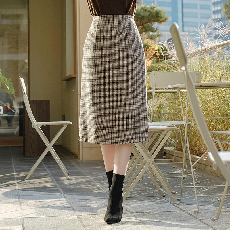 sk4419 따뜻한 울혼방 패브릭의 체크패턴 백밴딩 H라인 롱스커트 skirt