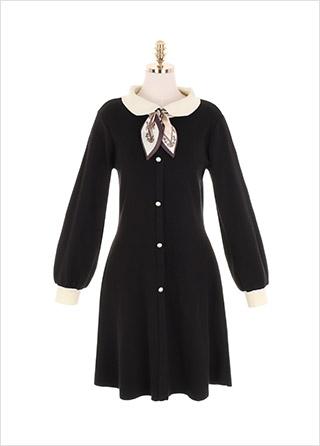 op10169 스카프 포인트를 더한 로맨틱한 배색 카라 니트 원피스 dress