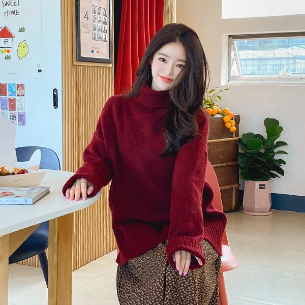 nt2433 따뜻하고 포근한 터틀넥 디자인의 소프트 루즈핏 롱 니트 knit