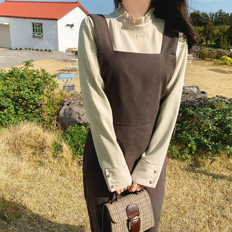bs5539 로맨틱하고 여성스러운 무드의 피치기모 프릴넥 반폴라 레이어드 블라우스 blouse
