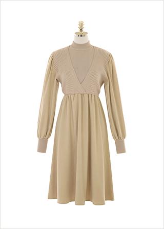 op10172 폴라티와 랩 원피스를 레이어드한 디자인의 니트 배색 원피스 dress