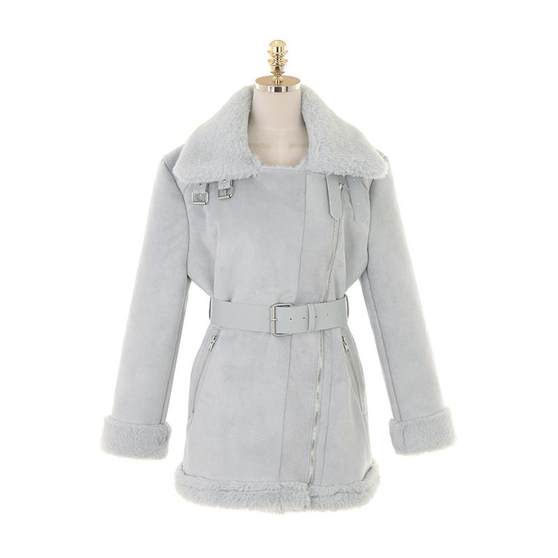 ct1246 부드러운 털 안감의 벨트 세트 카라 무스탕 coat