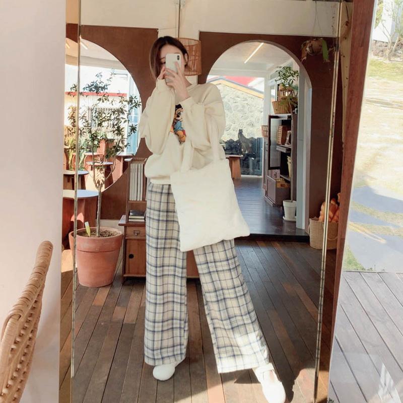 ps2469 캐주얼하게 입기 좋은 체크패턴의 허리밴딩 기모 와이드팬츠 pants