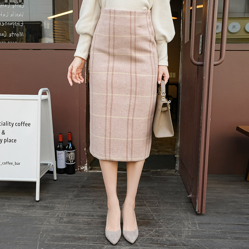 sk4444 사랑스러운 파스텔 체크패턴의 도톰 따뜻한 울소재 H라인 롱 스커트 skirt