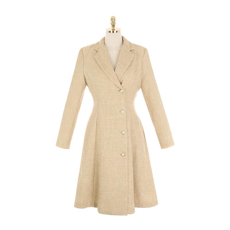 op10209 고급스러운 진주 버튼 장식의 자켓형 울 트위드 원피스 dress