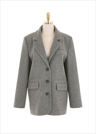 jk1338 도톰한 카치온 소재의 베이직 테일러드 싱글 자켓 jacket
