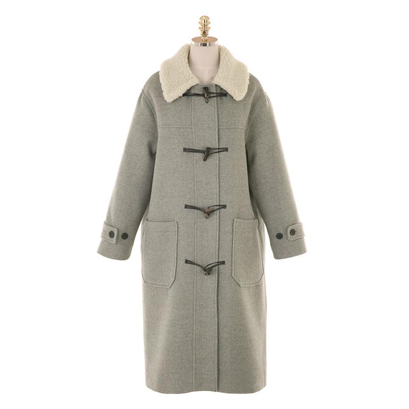 ct1253 누빔 안감으로 따뜻함이 전해지는 뽀글이 카라 더플 롱 코트 coat