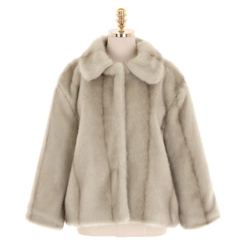 jk1365 사랑스러운 카라 디자인의 스트라이프 패턴 인조 밍크퍼 자켓 jacket