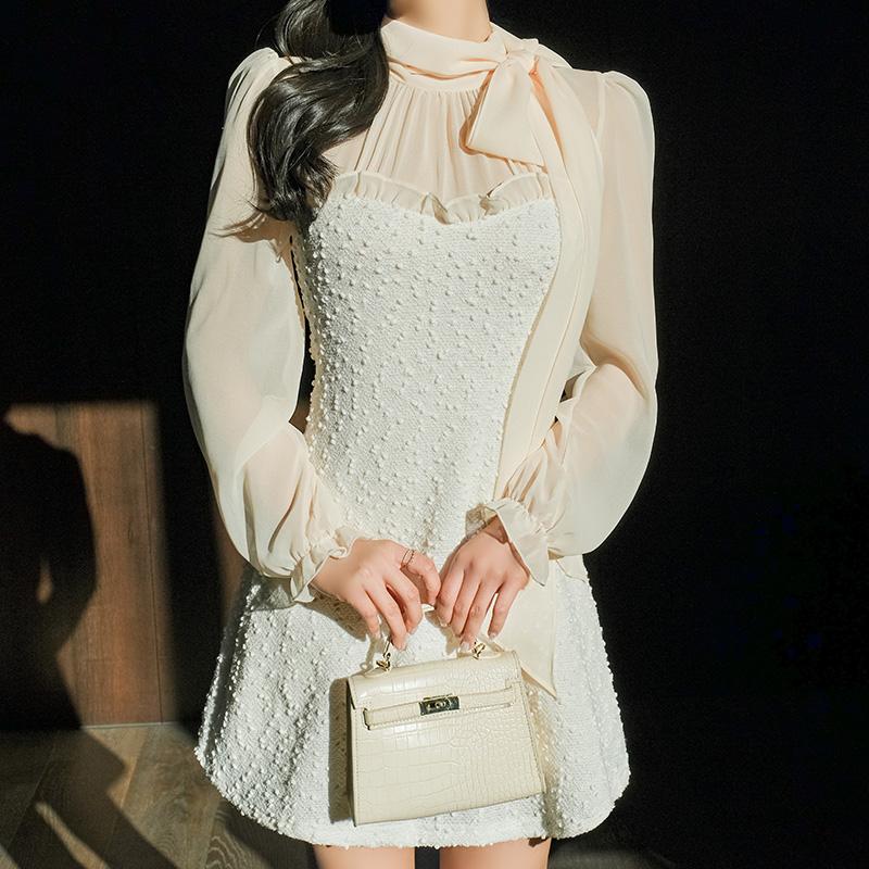 op10316 리본타이 쉬폰 블라우스와 스팽글 포인트의 번아웃 배색 A라인 미니원피스 dress