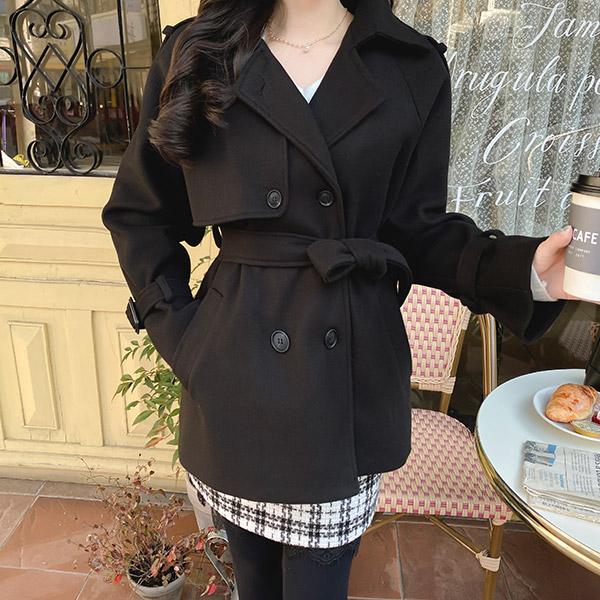 ct1277 트렌치코트 디자인으로 스페셜하게 완성된 울혼방 하프 더블 코트 coat