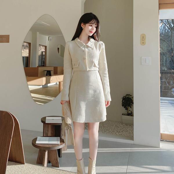 op10283 크롭 자켓을 걸친 듯한 실루엣의 일체형 트위드 미니 원피스 dress