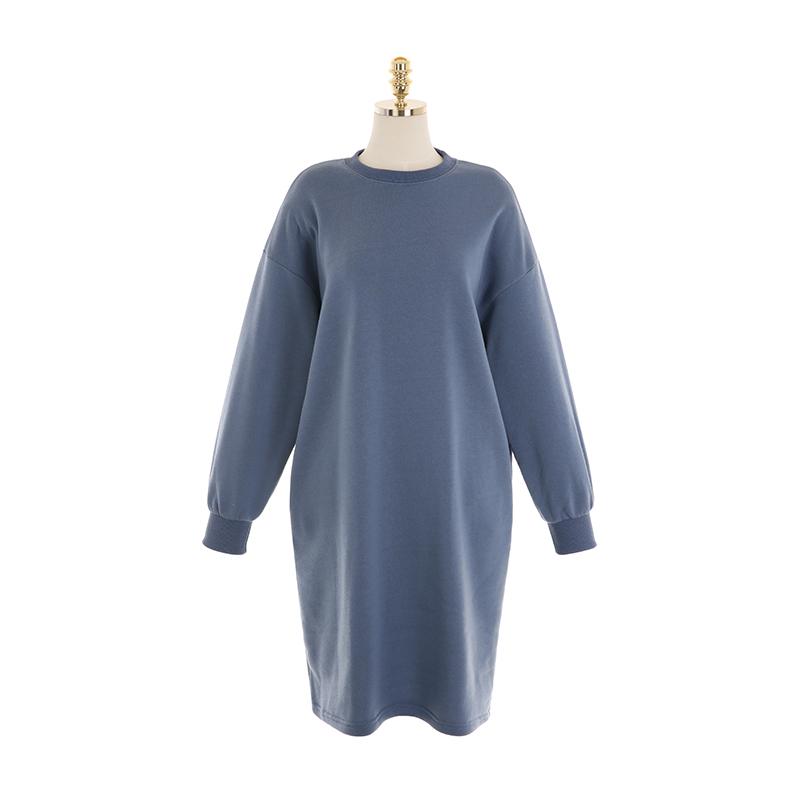 op10295 이지하게 즐기기 좋은 포근한 기모 안감의 루즈핏 맨투맨 롱원피스 dress