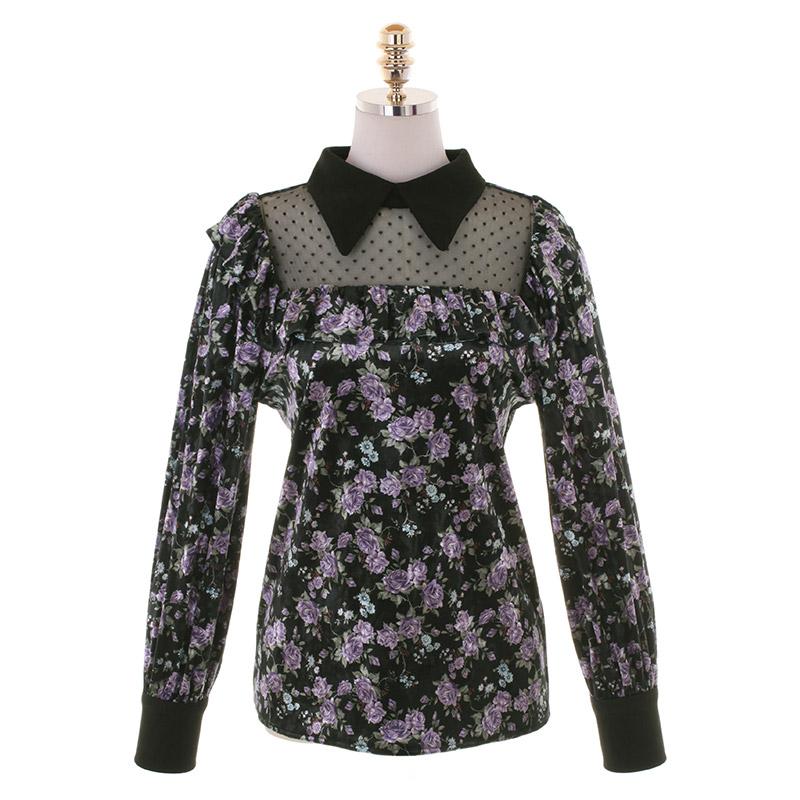 bs5552 고져스한 플라워 패턴이 돋보이는 시스루 포인트 벨벳 블라우스 blouse