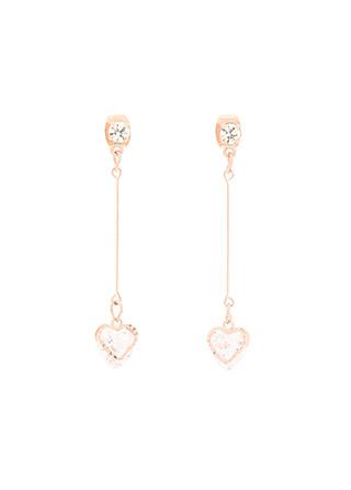 ac4839 로맨틱한 하트 큐빅 포인트의 롱드롭 이어링 earring