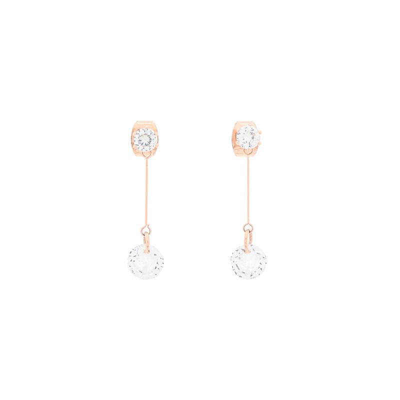 ac4834 블링한 라운드 큐빅이 장식된 심플 드롭 이어링 earring