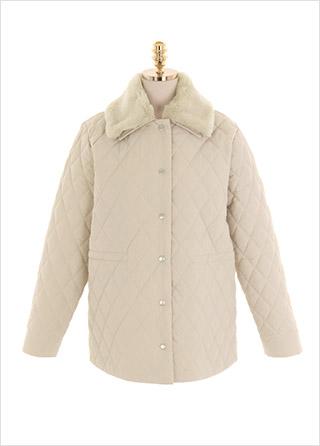 jk1377 포근하고 따뜻한 양털 카라로 완성된 퀄팅 누빔 자켓 jacket