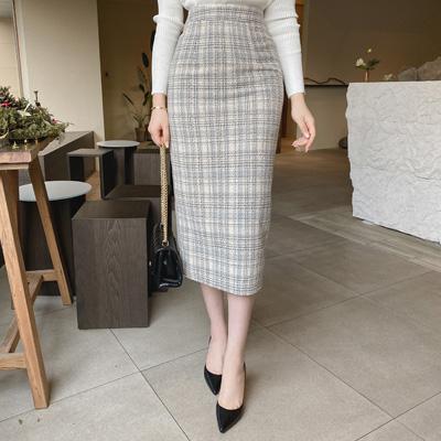 sk4498 입체감있는 트위드 패브릭으로 제작된 H라인 미디롱 스커트 skirt