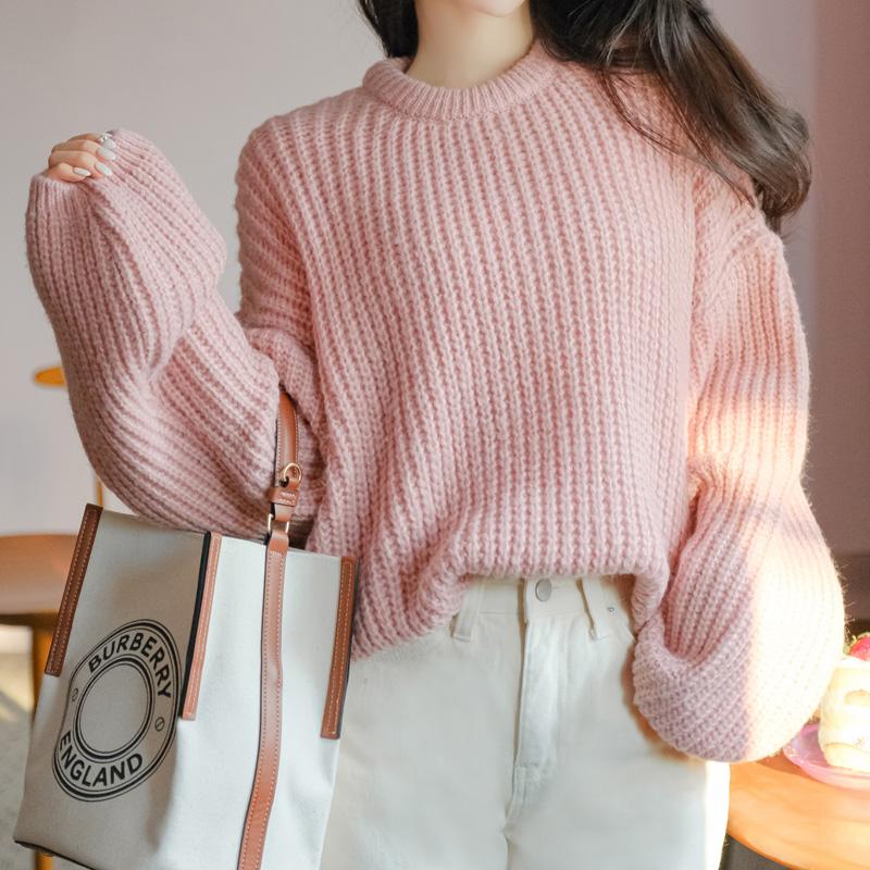 nt2513 여리여리하고 폭닥한 니트 짜임의 퍼프소매 루즈핏 라운드넥 니트 knit