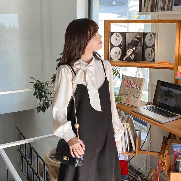 bs5593 샤방샤방 얼굴을 밝혀줄 리본타이 디자인의 셔링디테일 차이나넥 블라우스 blouse