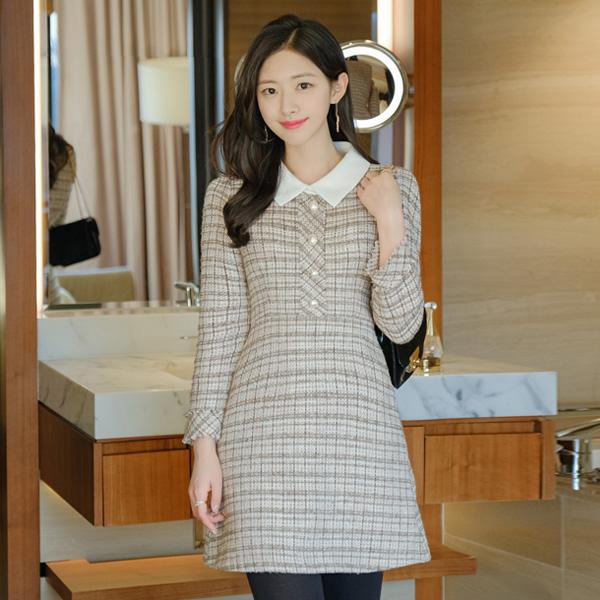 op10435 다채로운 컬러 조합으로 로맨틱하게 완성된 카라 배색 A라인 미니원피스 dress