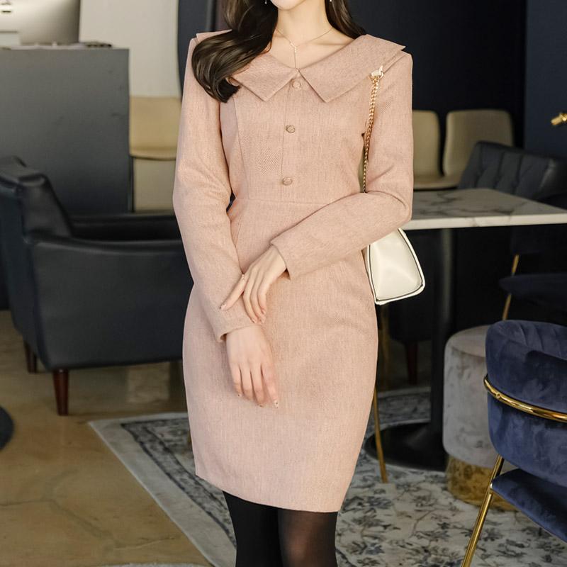 op10437 은은한 컬러감의 와이드 카라넥 슬림핏 H라인 미니원피스 dress
