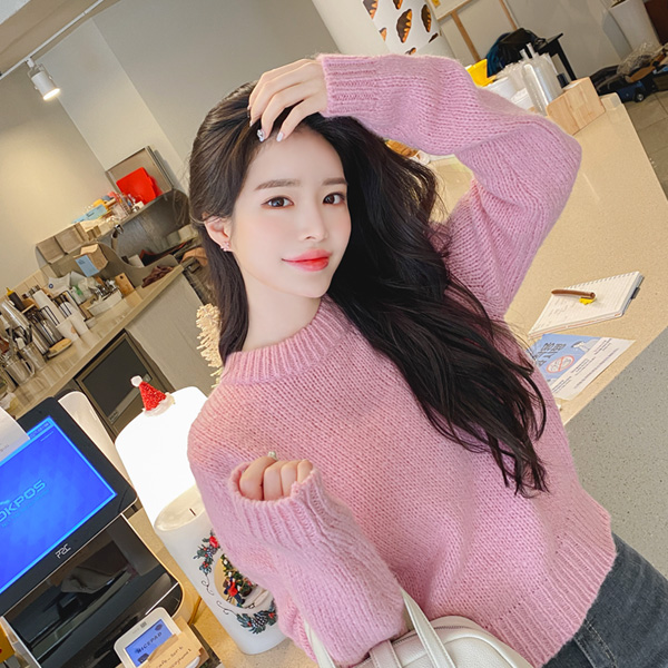 nt2500 사랑스러운 컬러로 완성된 울과 알파카 혼방의 라운드 크롭니트 knit