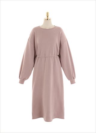 op10492 부드러운 코튼 터치감의 허리 스트링 포인트 롱 플레어 원피스 dress