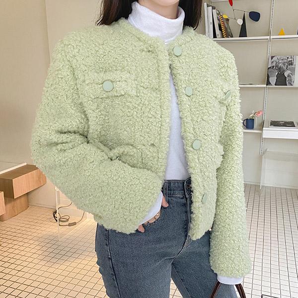 jk1403 상큼한 컬러감의 뽀글뽀글 페이크 양털 부클 숏 에코퍼 자켓 jacket