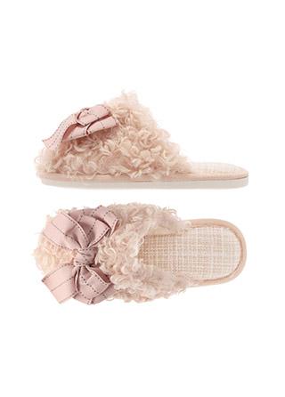 sh2149 러블리한 무드의 리본 트위드 뽀글이 슬리퍼 shoes