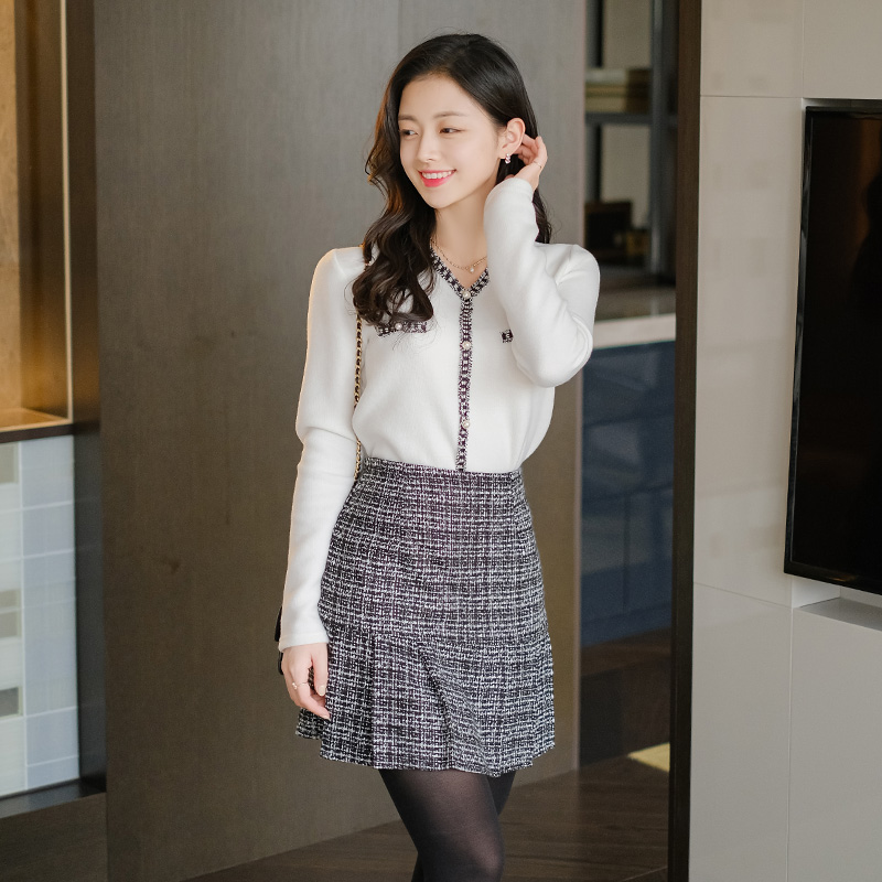 sk4537 스페셜한 밑단 플리츠 주름 디자인의 트위드 패브릭 A라인 미니스커트 skirt