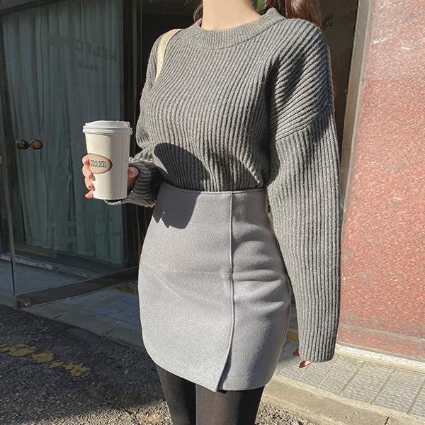 sk4543 센스있는 사이드슬릿 디자인의 울혼방 H라인 미니스커트 skirt