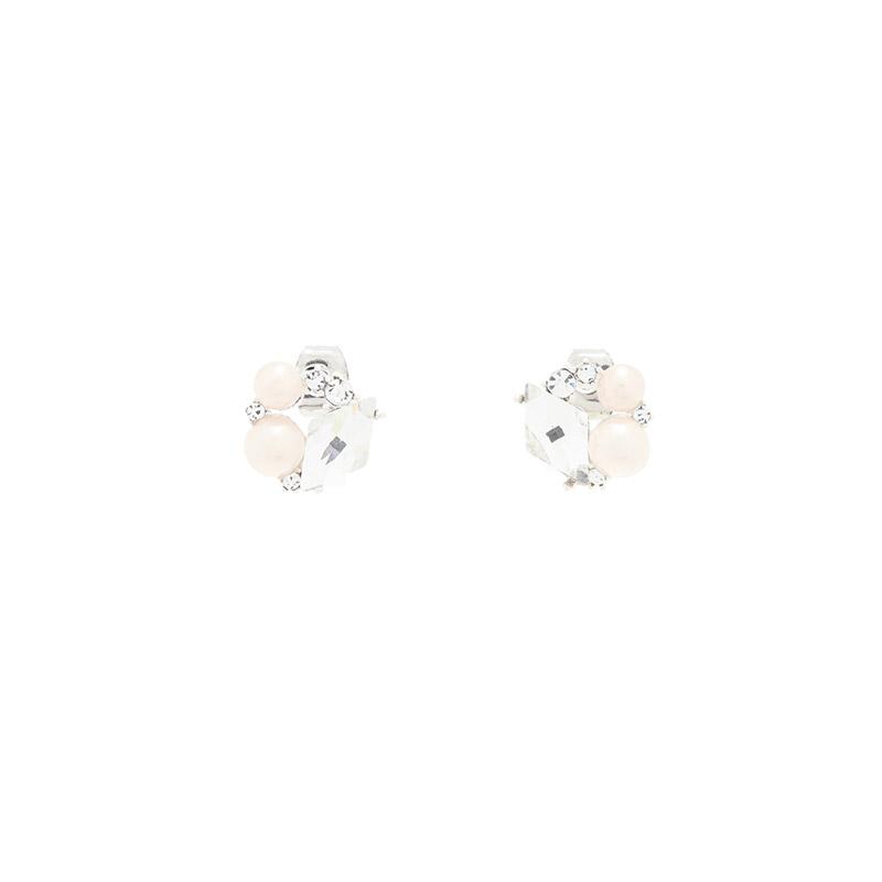 ac4857 스페셜한 하루를 선사해 줄 크리스탈 큐빅 미니 진주볼 이어링 earring